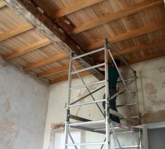 soffitto a cassettoni, restauro, cantiere