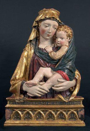 Scultura in legno Madonna con bambino